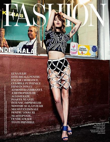 Cover Fashion Paris - Beau Monde - iulie 2015 - Andreea Matei wearing Manokhi skirt